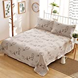 Oasis Hemp Bedding Pastoral Style British Style Bedding Sheet Set Pillowcase Pack of 3, 55% Hemp 45% Organic Cotton - 7637 - Chinese Characters Pattern 70.8 x 78.7 Inch