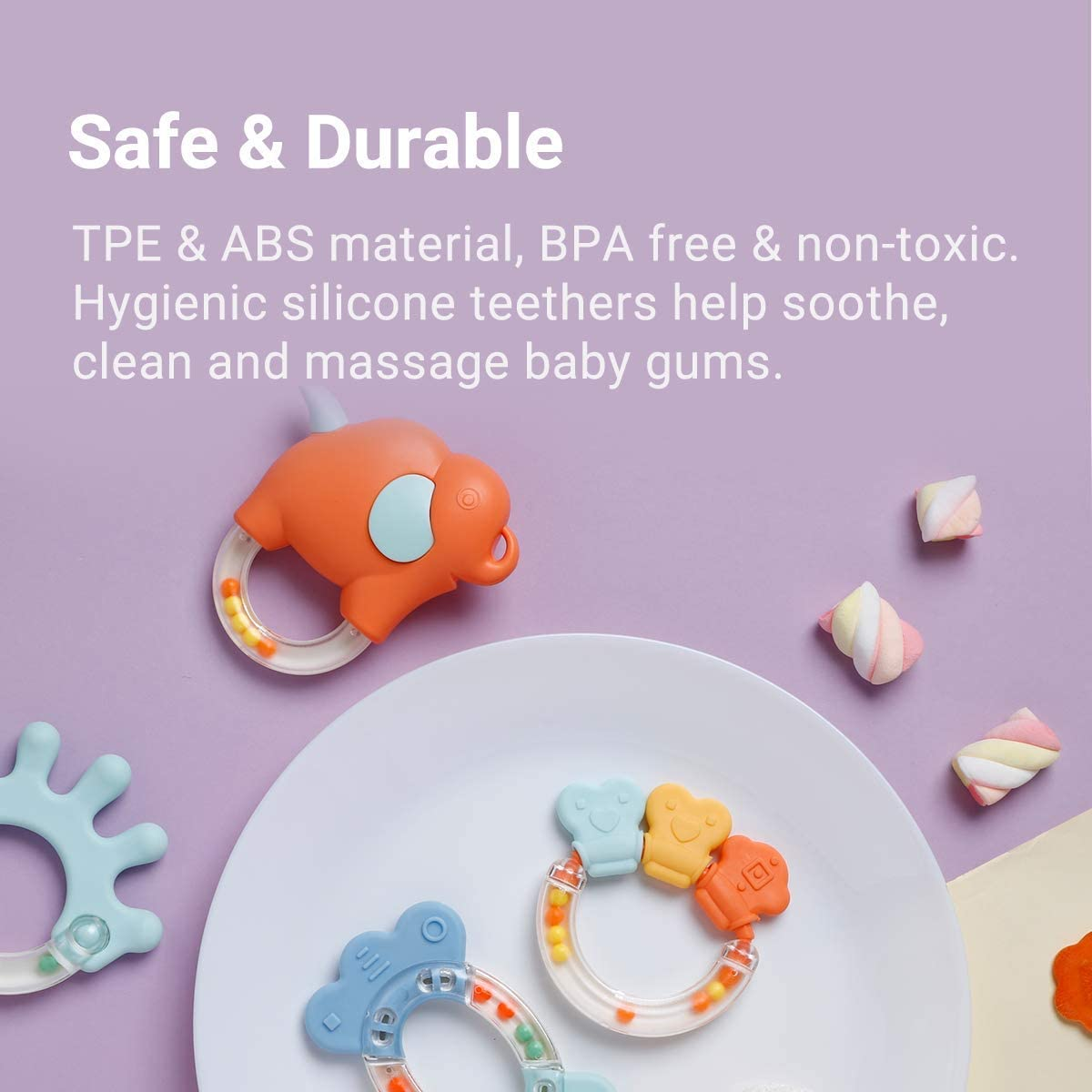 9 Months Old Teething Toddlers and Newborn alilo Baby Rattle Teethers Set 8pcs Easy to Chew Early Development and Education Gift Set for 3 Boys and Girls Grab /& Shake 6 Infant Shaker