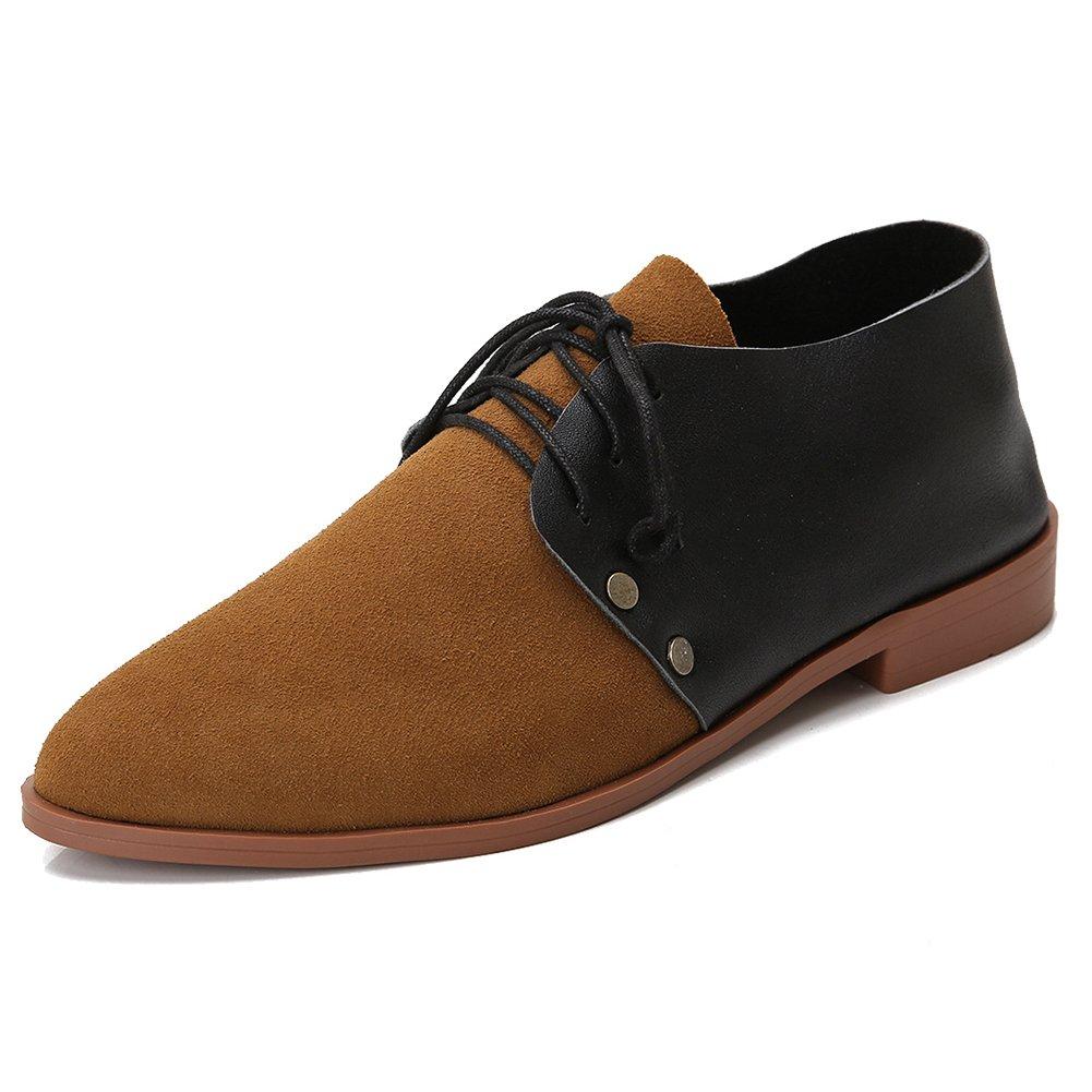 Leeminus - Zapatos de cordones de Ante para mujer 44.5 EU|Negro, Marrón