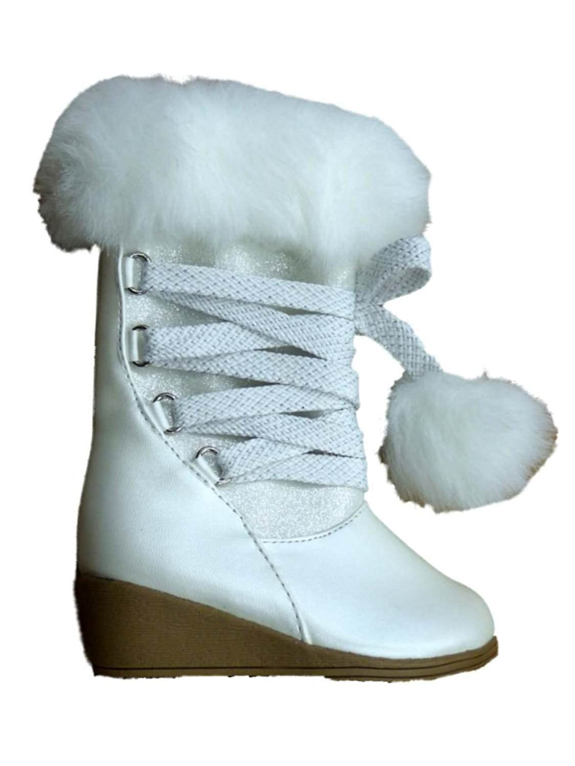 Canyon River Blues Toddler Girls White Fashion Boots with Faux Fur Trim