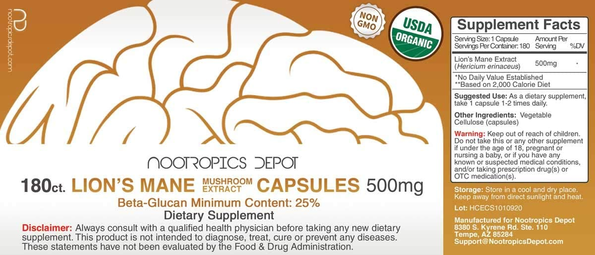 Lions Mane Mushroom Capsules 500mg 180 Count Hericium erinaceus Organic Whole Fruiting Body Mushroom Extract Brain Health Supplement Neuroprotective Boosts Mood