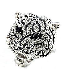 Fully-inlaid Rhinestones Platinum Plated Leopard Ring Big Leopard Head Animal Jewelry
