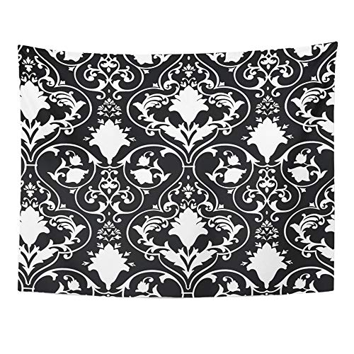 Emvency Tapestry Wall Hanging Black Fleur Antique Scroll White Lis Damask Abstract Baroque Beauty Curl 60
