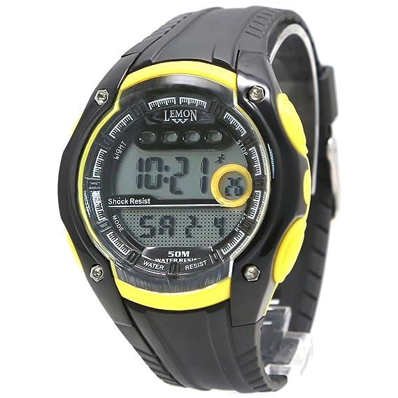 Alexis Mujer Ronda Reloj Digital de Pulsera Negro Banda Plástica Blanco Marcar Impermeable Alarma Cronógrafo Luz Trasera 12/24h formato: Amazon.es: ...