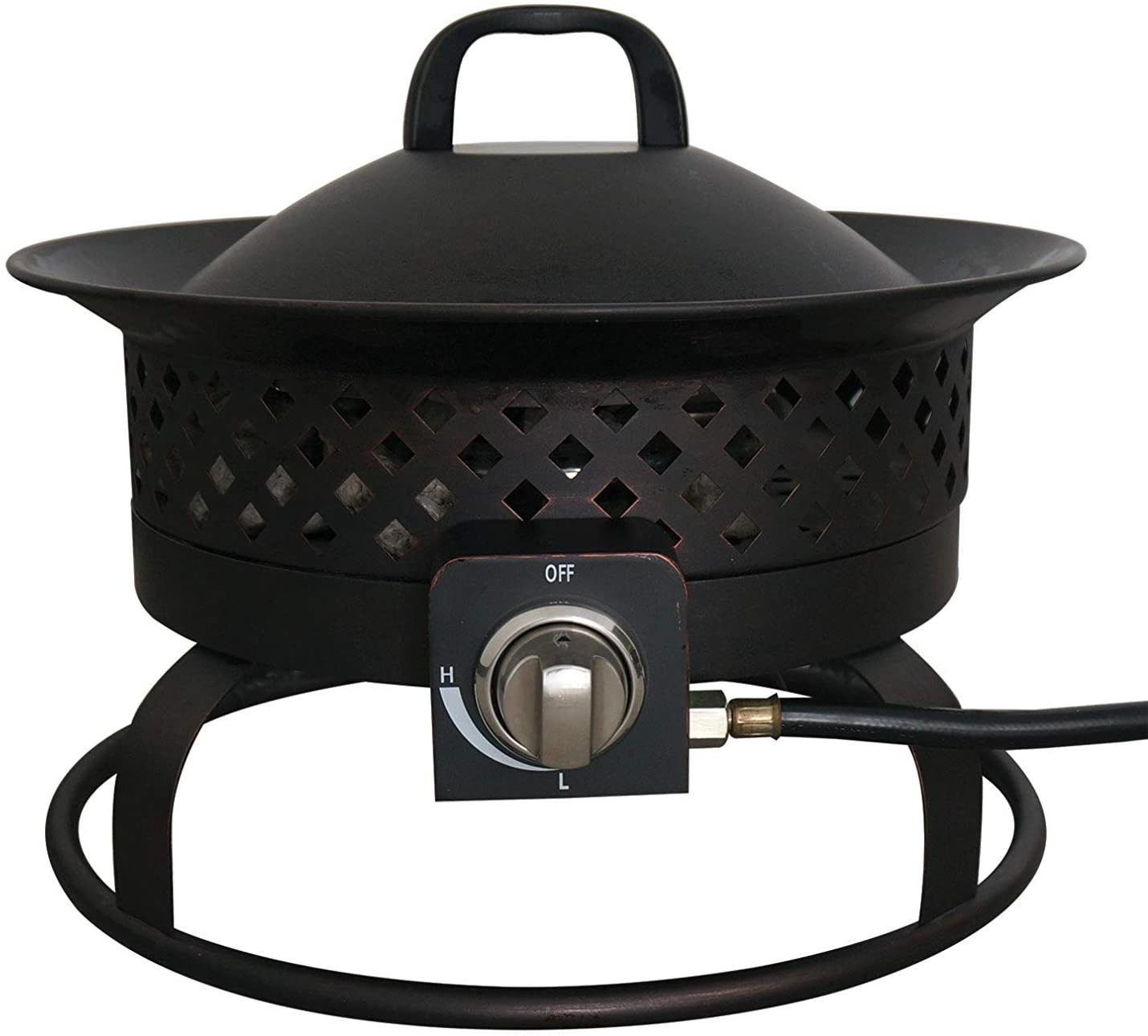 Bond Manufacturing 67836 54,000 BTU Aurora Camping, Backyard, Tailgating, Hunting and Patio. Locking Lid Carry Handle Portable Steel Propane Gas Fire Pit Outdoor Firebowl, 18.5 , Bronze