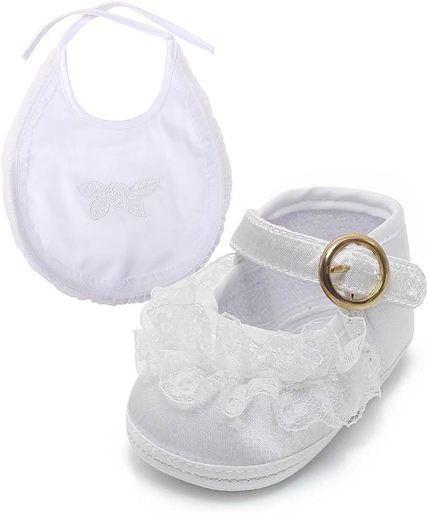 Bébé Chaussures Fille-Blanc satin et dentelle-Baptême Occasion Spéciale