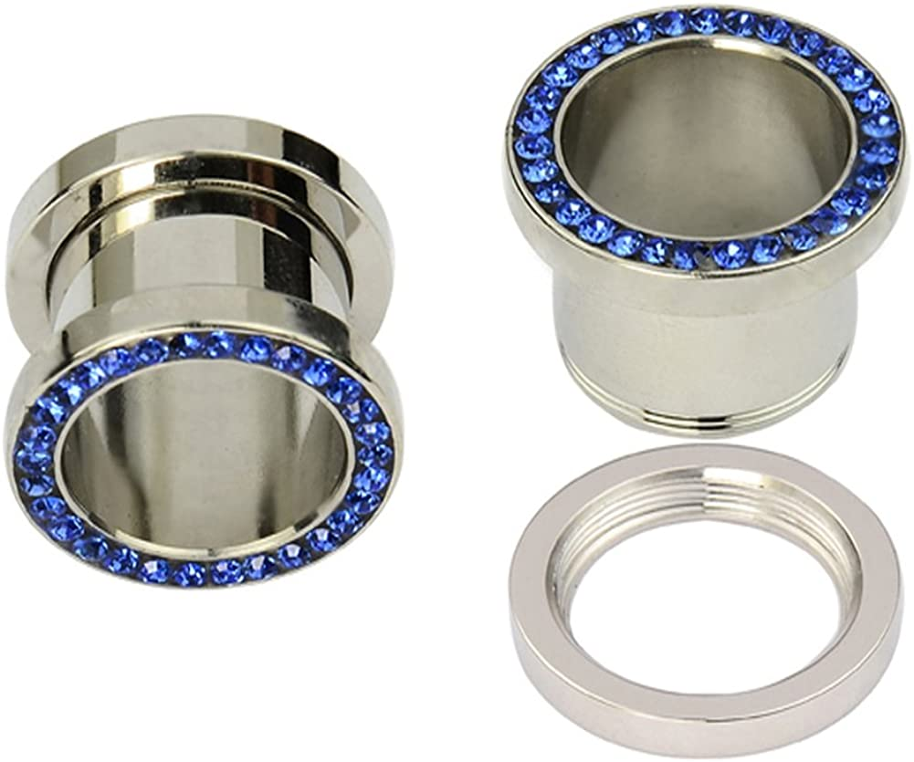 Tunnel Plug Stainless Steel Sapphire Blue CZ Gems Rimmed Screw Fit Ear Flesh Plugs Earlet Pair Select Your Size