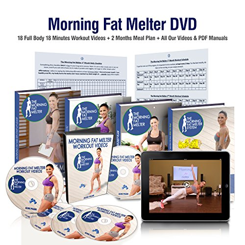 Morning Fat Melter Workout DVD For Women – 18 Workout Videos + 2 Months Meal Plan + Our PDF Manuals – Lose Weight Fast With 18 Minutes Exercise Videos – Exercise Dvds For 1st & 2nd Month