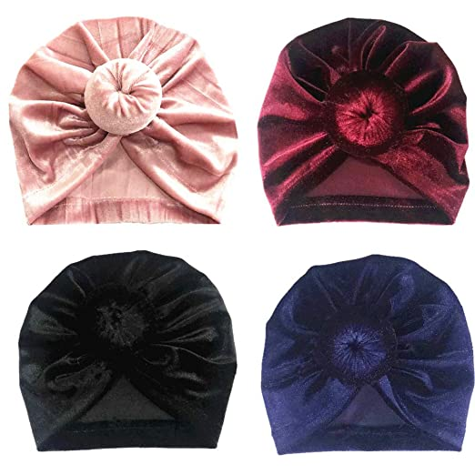c3a228b4b 4PCS Baby Knots Turban Headband Hat Kids Girls Velvet Head Wrap Caps  Toddler Hair Accessories Hairband