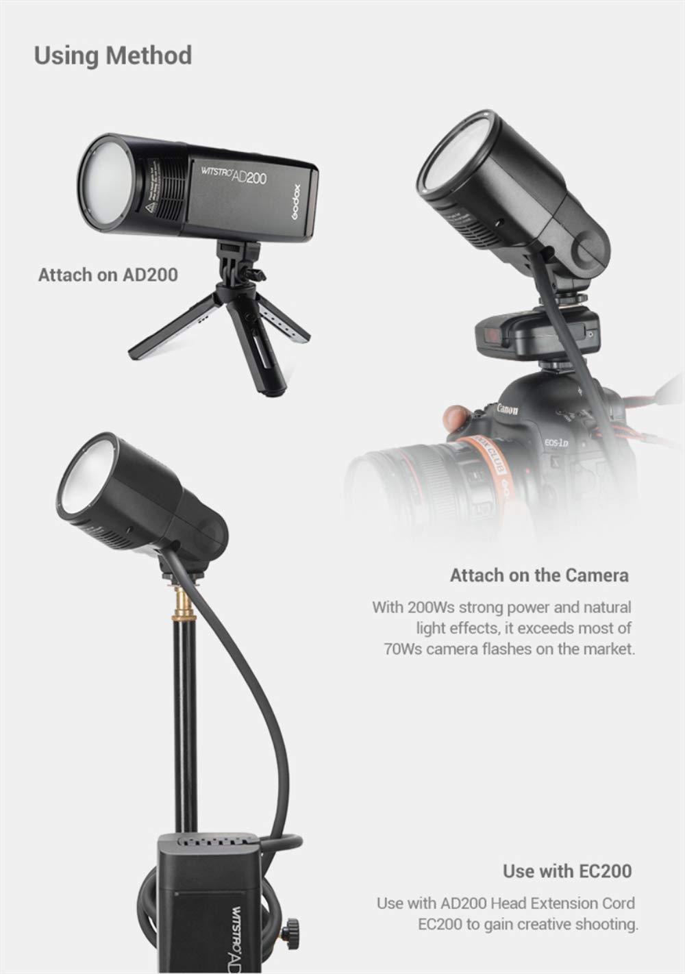 Godox AD200 Pocket Flash and H200R Ring Flash Head Set, 200Ws 2.4G TTL Strobe Flash 1/8000s HSS Cordless Monolight with 2900mAh Lithium Battery Bare Bulb by Godox (Image #7)