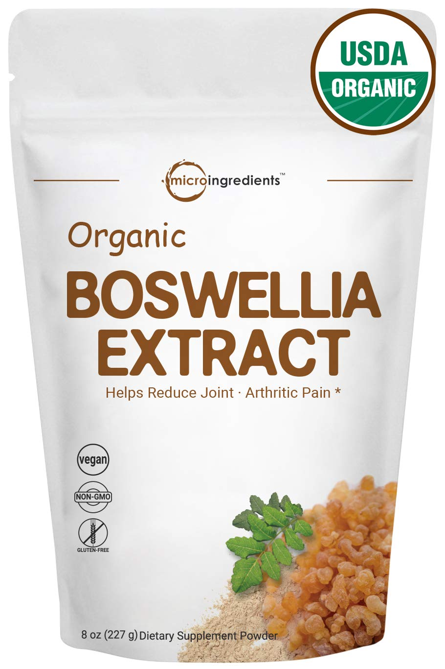 Pure Organic Boswellia Serrata Extract Powder, 8 Ounce,Powerfully Supports Joints, Knees and Bones Health, Non-GMO and Vegan Friendly