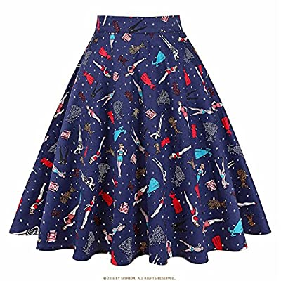 Processes New Summer Black Skirt Women High Waist Plus Size Floral Print Polka Dot