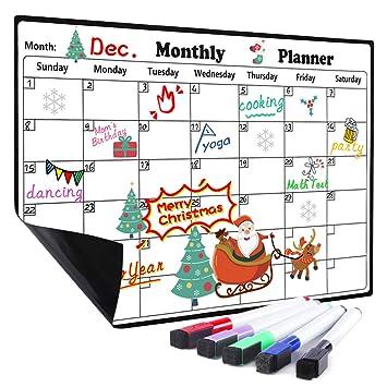 Calendario de borrado en seco para nevera, 5 rotuladores incluidos ...