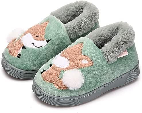 ALPARA Toddler Boys Girls Slippers Fluffy Little Kids House Slippers Warm Fur Cute Animal Home Slipper
