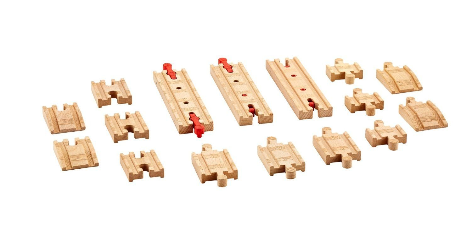 Fisher-Price Toy - Thomas and Friends Wooden Railway - Sure Fit Track Pack - 16 Real Wood Pieces DFX00