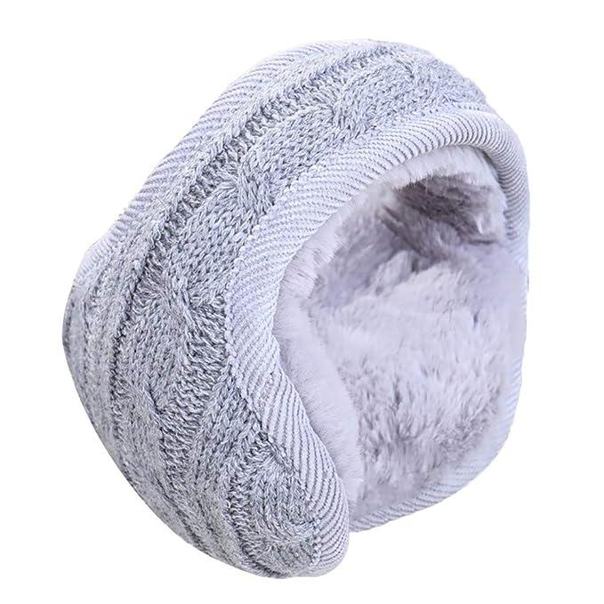7342d9c9c74 LHZY Unisex Winter Warm Knitted Behind Head Ear Muffs Soft Plush Earmuffs  Foldable Ear Warmer  Amazon.co.uk  Clothing