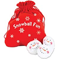 Dennis East Snowball Fight, 10 Plush Snowmen Balls in a Red Bag, Snowball Fun, Indoor Play