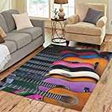 InterestPrint Colorful Guitar Area Rug Floor Mat 7' x 5' Feet, Music Note Musical Throw Rayon Fiber Carpet Rugs for Home Living Dining Room Decoration