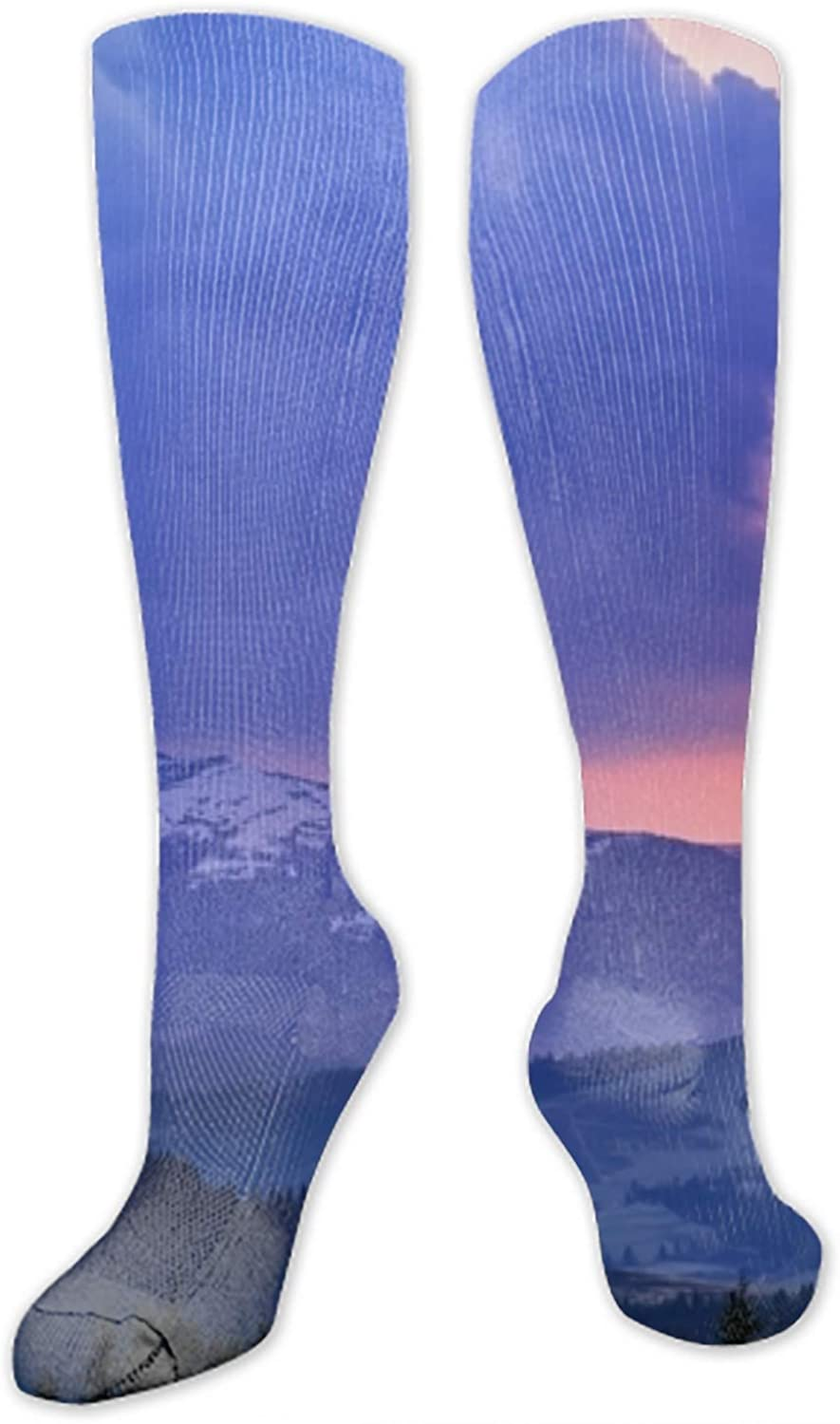 Unisex Art Patterned Casual Crew Socks Mountains Good for Gift Idea