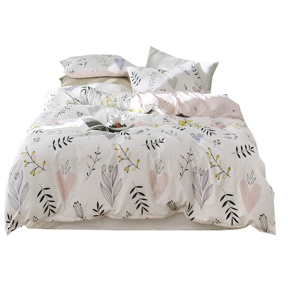 Fresh Birds Print Kids Duvet Cover Set Summer Floral Twin Bedding Set Cotton Girls Duvet Cover Set Reversible Children Bedding Cover Set for Teens Adults Twin Bedding Collection, Style4 AMWAN AMYTUS9-4T