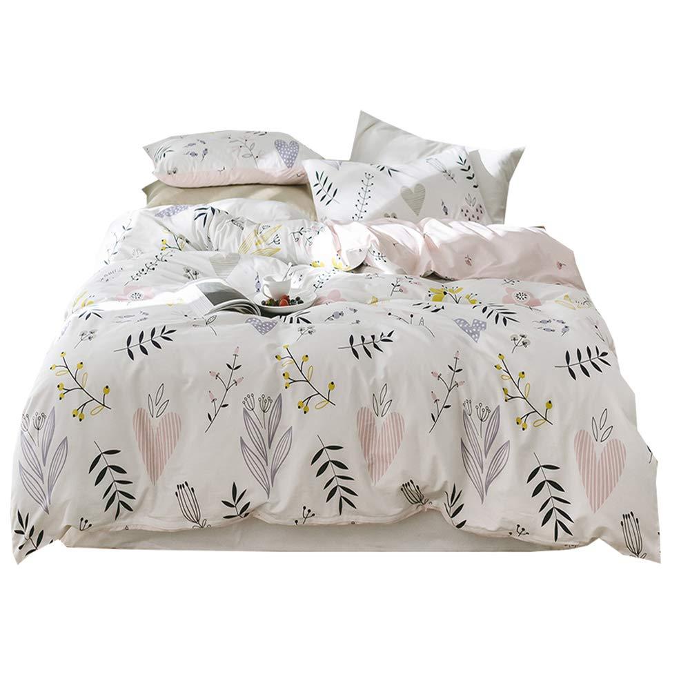 Flower Print Cotton Girls Duvet Cover Set 3 Piece Pink Reversible Full Bedding Set Lightweight Soft Floral Duvet Comforter Cover Set for Children Teens Adults Queen Bedding Collection