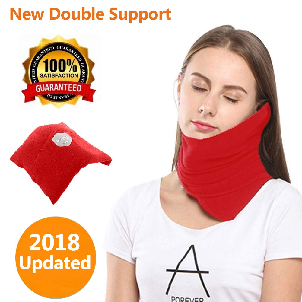 YOYASTORE 2018 Upgraded Travel Neck Support Pillow, Evolution Airplane Travel Pillow Memory Foam Double Support Portable & Machine Washable Red