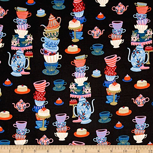 Cotton + Steel Rifle Paper Co. Wonderland Mad Tea Party Black Fabric By The Yard