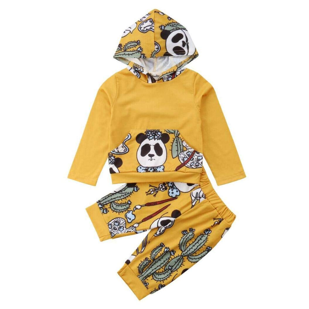 Moonuy Halloween Party Outfits Clothes Newborn Infant Baby Boy Girl Panda Print Tops Hoodie +Pants Outfits Clothes