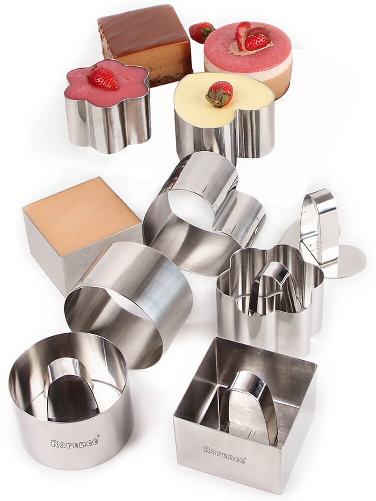 Rorence Stainless Steel 12 Piece 3'' Mousse Cake Ring Mold with Press Set
