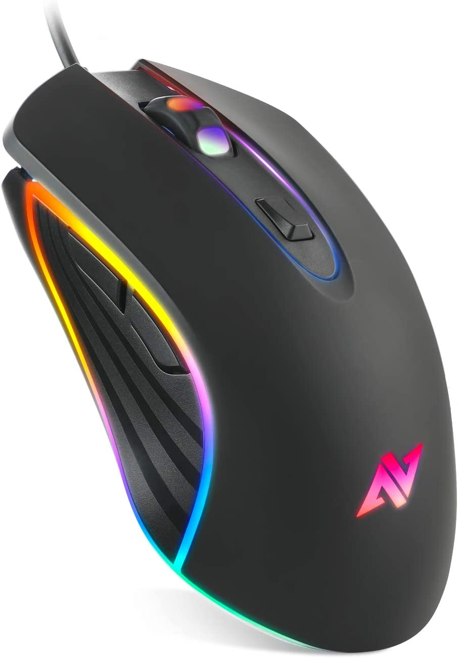 ABKONCORE Gaming Mouse Astra M30, Wired, USB Optical Computer Mice with 8 Programmable Buttons, Chroma RGB Backlit, 3500 DPI Adjustable, Comfortable Grip Both Handed Mice for Laptop, PC, Mac, Window