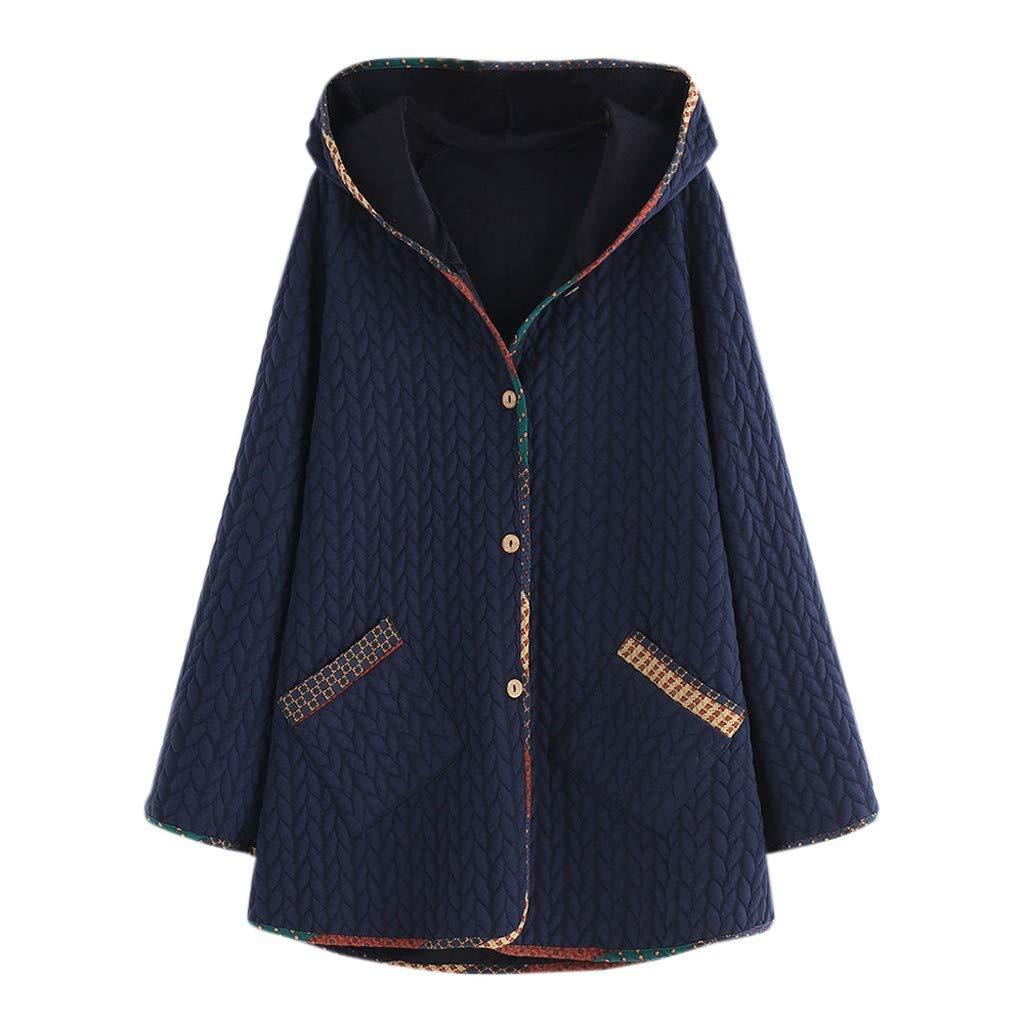 Yanvan Coats Outwear Jacket Plus Size Winter Warm Women Vintage Hooded Long Sleeve Button Coat Outwear by Yanvan