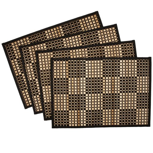 Benson-Mills-Checkerboard-Bamboo-Placemats-Black-Set-of-4