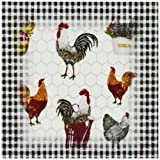 3dRose cst_109339_3 Country Black and White Check with Colorful Roosters-Ceramic Tile Coasters, Set of 4