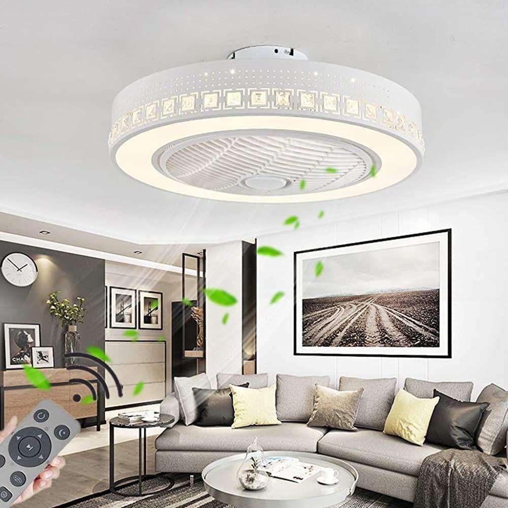 Ventiladores De Techo,Ventilador Restaurante De Decoraci/ón De Iluminaci/ón del Dormitorio Cubierta QTJ 72W LED Regulable Moderno Ventilador De Techo con Luz LED A