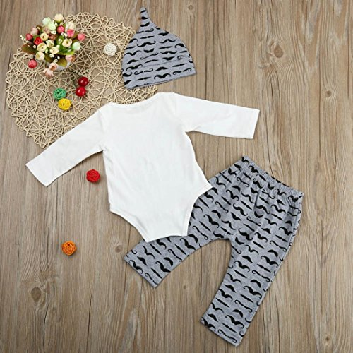 FEITONG Newborn Infant Baby Boy's Print Romper Tops+Long Pants +Hat (3-6 Months, Black #2)