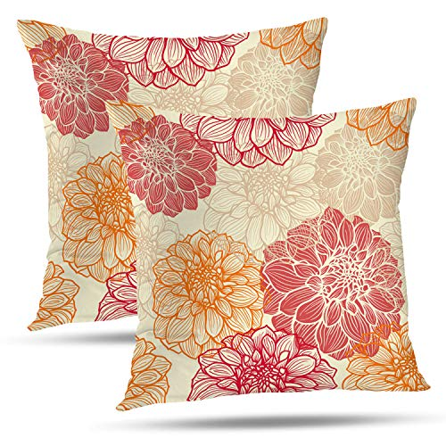 Batmerry Spring Pillows Decorative Throw Pillow Covers 18x18 Inch Set of 2, Colorful Dress Flowers of Dahlia Pink Abstract Artistic Double Sided Square Pillow Cases Pillowcase Sofa Cushion