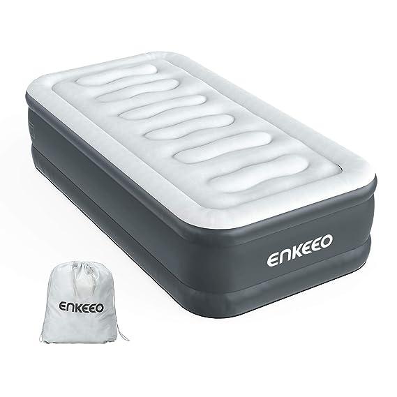 ENKEEO Colchón Hinchable con Bomba Eléctrica Incorporada, Resistente al Agua y al Desgarro, 190 x 99 x 46 cm Tamaño Individual