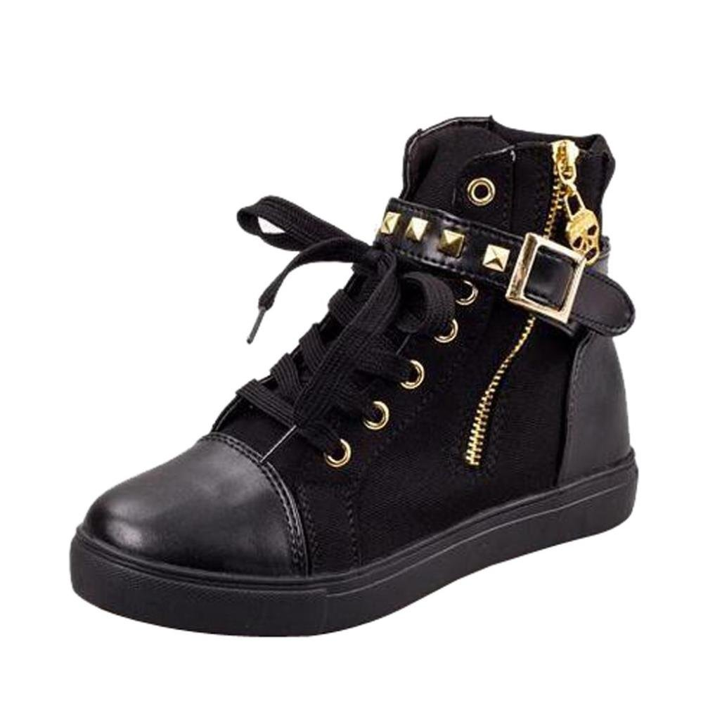 SUEKQ Fashion Side Zipper Buckle Rivet High Top Sneakers for Women Girls, Lace Up Hidden Heel Wedge Canvas Sneakers Casual Ankle Boots Travel Shoes (8 B(M) US, Black)