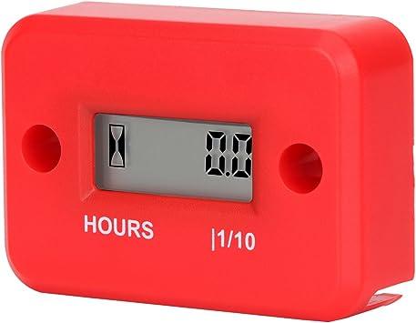 Aimila Digital Engine Hour Meter Inductive LCD Waterproof Hourmeter for Motorcycle Red