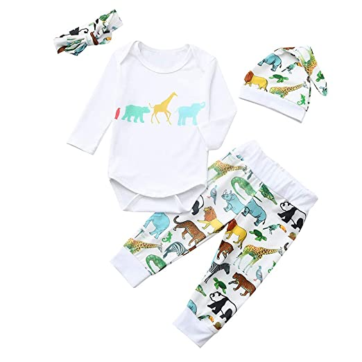 836e671e73ab Amazon.com  4Pcs Toddler Baby Boys Girls 3-24 Months Cartoon Animal ...