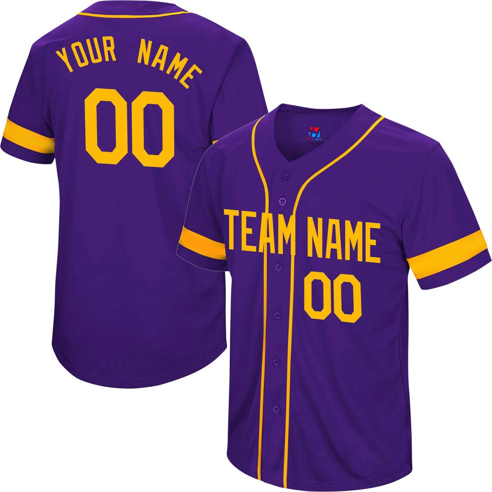 Pullonsy College Purple Women's Customized Baseball Jersey Stitched Your Name & Numbers,Yellow Striped Size XL by Pullonsy