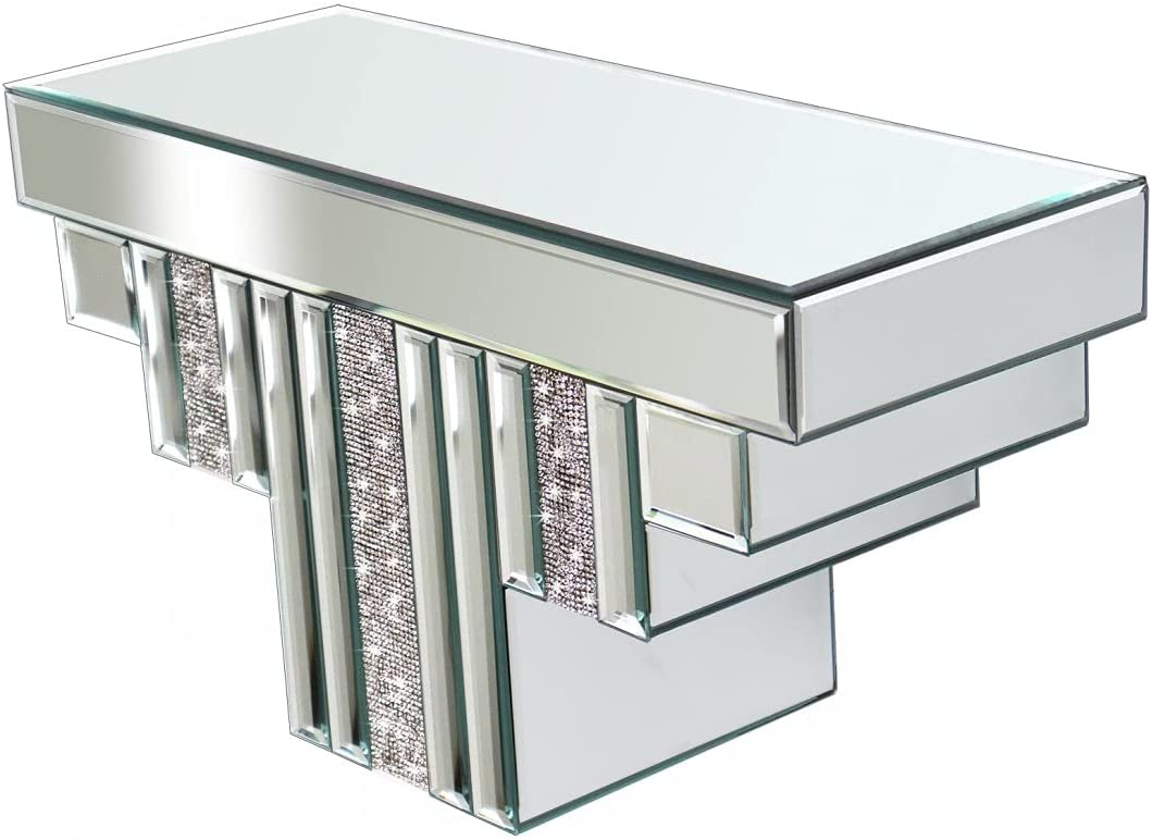 Floating Wall Shelf Mirrored, Silver Mirror Crushed Diamond Decorative Wall Shelf for Home Decoration Crystal Diamond Wall Art Décor Accent Piece Showcase, 16