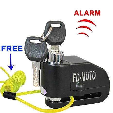 FD-MOTO - Dispositivos Antirrobo Candado de Disco con Alarma Antirrobo Acero 7mm 110DB Negro