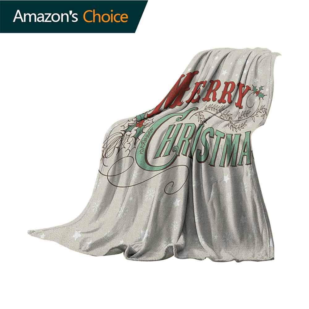 Christmas Blanket Storage,Xmas Stars and Snowflakes Backdrop with Stylized Retro Lettering for Bed & Couch Sofa Easy Care,60'' Wx80 L Eggshell Sea Green Ruby