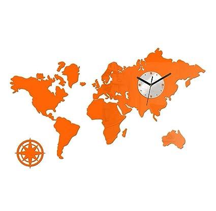 Amazon.com: DACHUI Wall Clock World Map office hours the ...