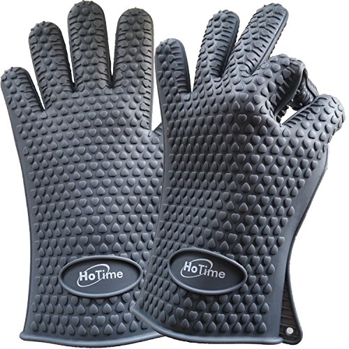 HoTime Silicone Cooking Gloves & Heat Resistant Gloves - Ideal For Cooking, BBQ, Baking, Grilling, and Oven Mitts - (Lifetime Replacement) & {Special Bonuses - Pot Holder and Two Ebooks} (Gray) by HoTime