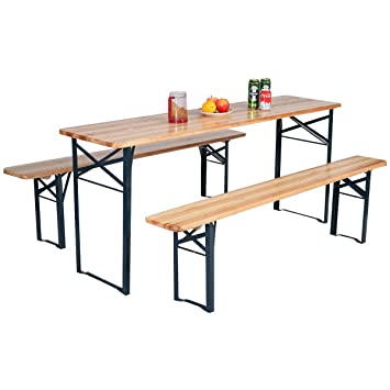 Amazon De Fds Outdoor Zusammenklappbar Holz Tisch Bank Set Party