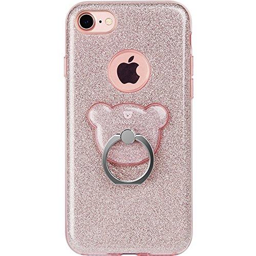 GR AIQAA TPU Glitter Powder Drop-proof Schutzhülle Cover mit Bär Ring Halter für IPhone 6 Plus & 6s Plus