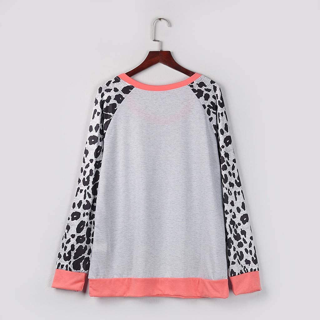 Eoeth Fashion Womens Casual Simple Warm Sweaters Waffle Knit Leopard Patchwork Long Sleeve Pullover Tops Shirts Blouse