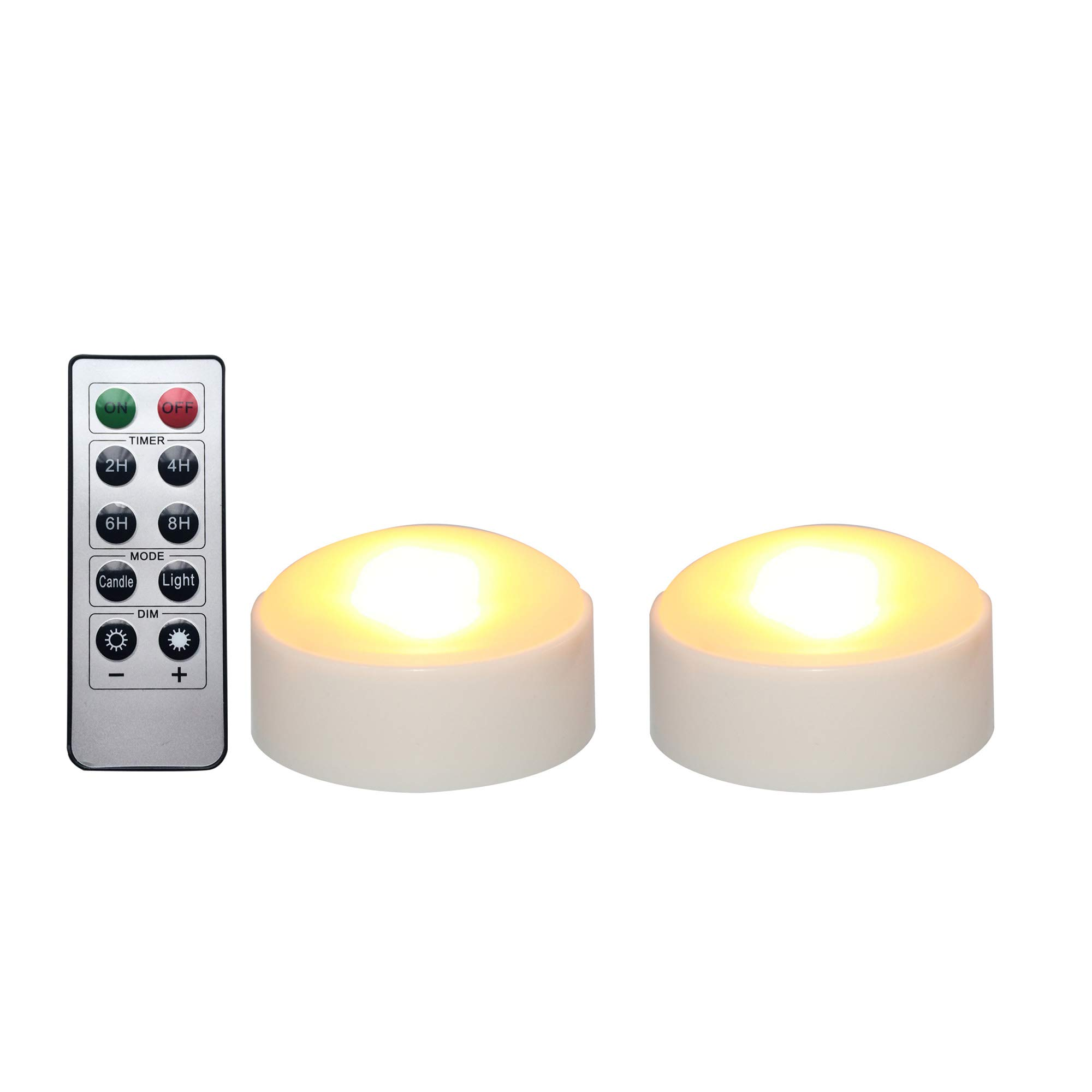 iZAN Battery Operated LED Pumpkin Lights with Remote and Timer, Bright Flickering Flameless Candles for Pumpkin Decor, Jack-O-Lantern Halloween Party Home Decorations, White Color, 2 Pack